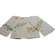 Eight Swiss Hand Embroidered Linen Cotton Tea Towels-New Old Stock
