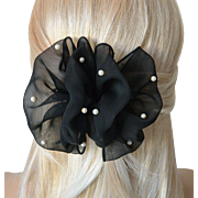Puffy Black Chiffon Hair Barrett Hair Bow Ornament White Faux Pearls-New Old Stock