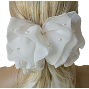 Puffy White Chiffon Hair Barrett Hair Bow Ornament White Faux Pearls-New Old Stock