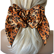 Hair Barrett Bow Leopard Print-New Old Stock