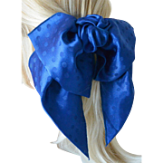 Bow and Sash Hair Barrett Polka Dots on Royal Blue-New Old Stock