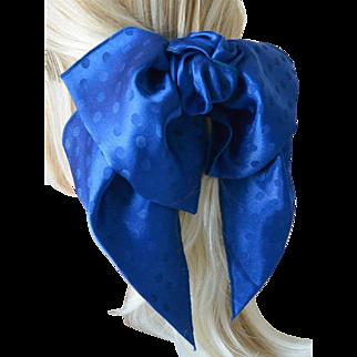 Bow and Sash Hair Barrett Polka Dots on Royal Blue-New Old Stock