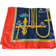 Nautical Theme Clipper Ships Silk Women's Scarf 31.0 Inch