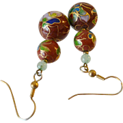 Chinese Enameled Cloisonné Bead Drop Earrings