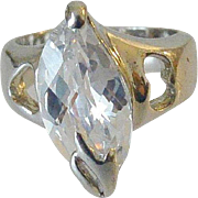 Fancy Cut Faceted Crystal Ring Size 6.5
