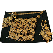 "Sarah Coventry ""Golden Petals"" 1971 Necklace and Clip Earrings Set"