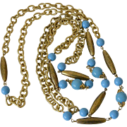 Link Chain with Blue Beads Continuous Necklace