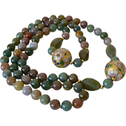 Natural Stone Beads Cloisonne Necklace