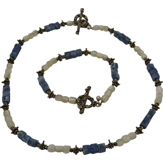 Blue Sodalite Rock with Mother of Pearl Beads Necklace and Bracelet Set
