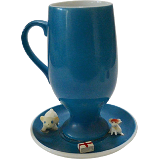 Mid Century Schmid Cat and Mouse Cup and Saucer