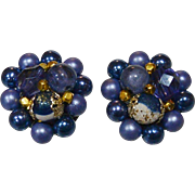 Sapphire Blue Japan Beaded Clip Earrings