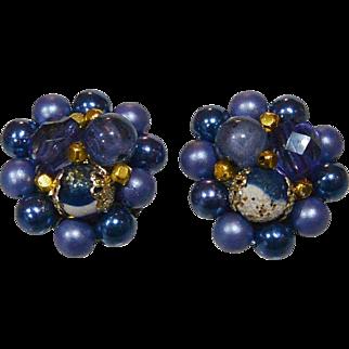 Sapphire Blue Japan Beaded Clip Earrings