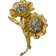 B.S.K. Flowers Brooch Pin with  Faux Pearls Turquoise and Rhinestones