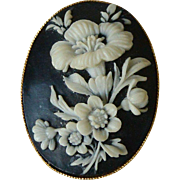 Vintage Cameo Brooch Pin Ivory White Floral on Black