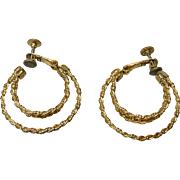 Vintage Napier Screw Clip Hoop Earrings Gold Tone