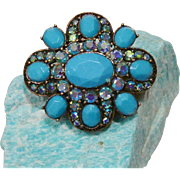 Stunning  LC  Brooch Pin Turquoise Colors