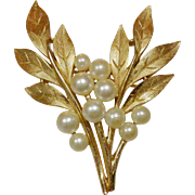 Crown Trifari Leafy Foliage Faux Pearls Pin