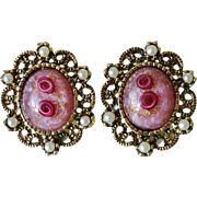"Art Glass Clip Earrings by Sarah Coventry – ""Catherine"" 1972"