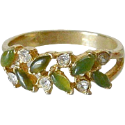 Early Uncas Faux Jade and Diamonds Ring Size 8