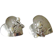 Hearts With Floral Motif Screw Back Earrings