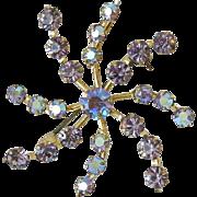 Aurora Borealis Lavender Rhinestones Swirl Pin
