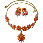 Celluloid Coral Rose Flower Lavaliere Necklace Earrings Set Signed Japan