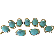 Faux Turquoise Cabochons Link Bracelet and Clip Earrings