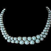 Aqua Blue Simulated Pearls Crisscross Chain Weave Necklace
