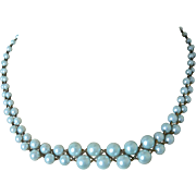 Aqua Blue Simulated Pearls Crisscross Chain Weave Necklace