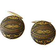 Vintage Damascene Cufflinks with Fine Detail