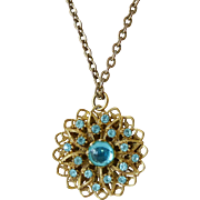 Czech Filigree Aqua Moon Glow Cabochon Pendant Necklace