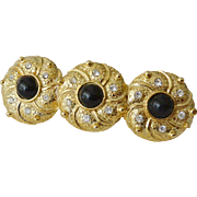 1980's Faux Onyx Cabochons Hair Barrette Made in France