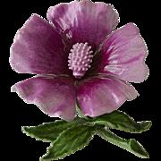 Enameled Purple Flower Brooch Pin