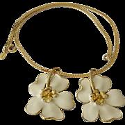 Sarah Cov  Enameled Flowers Slide Pendant Necklace