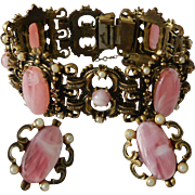 Renaissance Style Bracelet and Screw Back Earrings Set