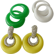 "Sarah Coventry  1973 ""Pastel Parfait"" Changeable Earrings Set"