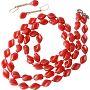 """Holiday"" Beads Sarah Coventry Red Necklace and Earrings Set"