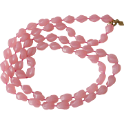 """Holiday"" Beads Sarah Coventry  Necklace - Pink"