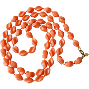 """Holiday"" Beads Sarah Coventry Necklace - Coral"