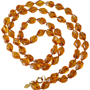 """Holiday"" Beads Sarah Coventry Necklace - Amber"