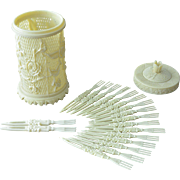 Decorative Vintage Celluloid Hors d`oeuvre Picks Set