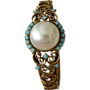 Faux Mabe Pearl Turquoise Clamper Bracelet