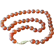 Carnelian Glass Beads Necklace