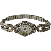 Jaclyn Smith Bracelet Watch Marcasites and Faux Onyx