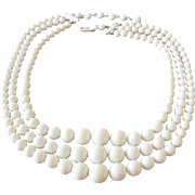 Basic White Three Strands Beaded Necklace Japan