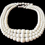 Basic White Three Strands Beaded Necklace Japan