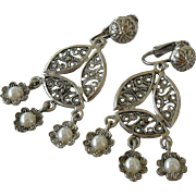 Filigreed Dangle Clip Earrings with Faux Pearls