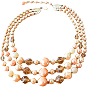 Japan Beaded Necklace Peachy Pink and Amber