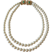 Sarah Coventry Faux Pearl with Faux Jade Clasp Necklace