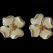 Trifari Dogwood Flower Enameled Post Earrings